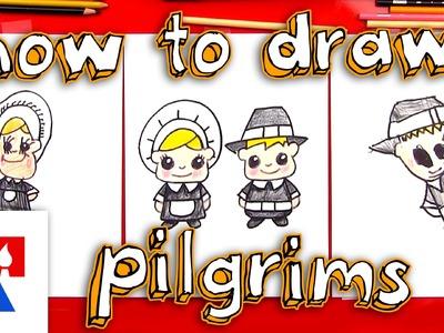 How To Draw Cartoon Pilgrims (Boy & Girl)