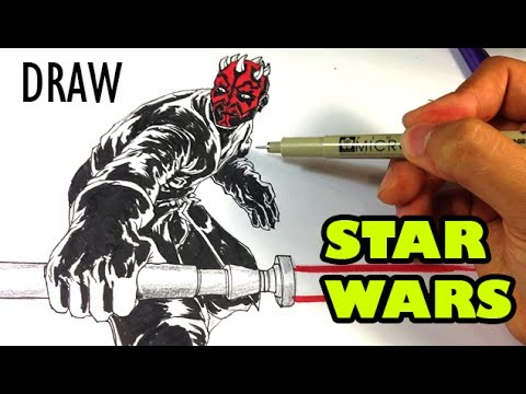 How to Draw Darth Maul from Star Wars - Easy Drawings