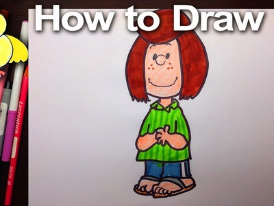 How to Draw Peppermint Patty from The Peanuts step by step |DoodleDrawArt
