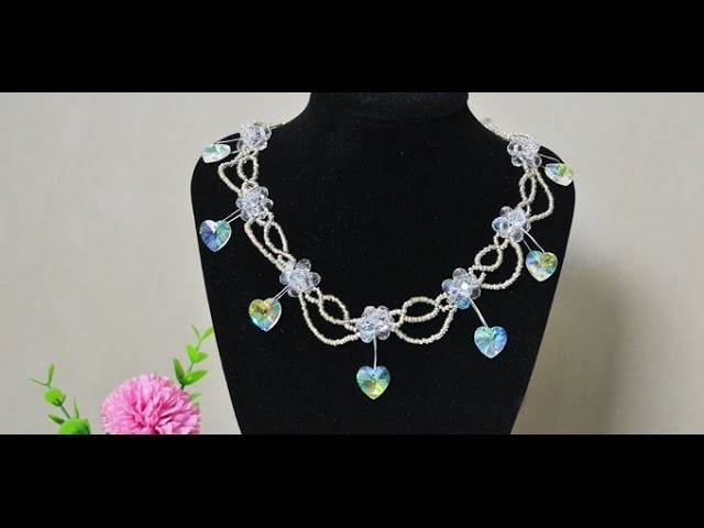How to Make a Charming Beaded Necklace with Rhinestone Heart Drops for Valentines' Day