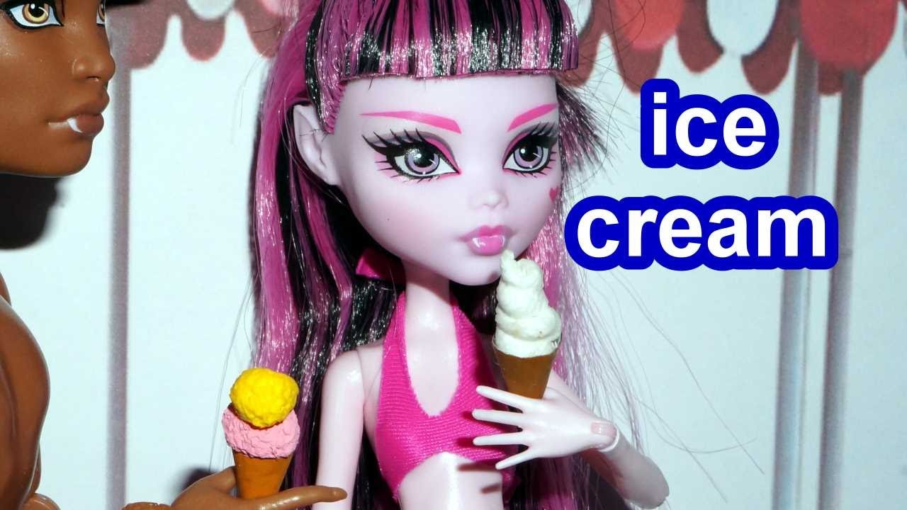 How to make a miniature doll ice cream #2 for Barbie, Monster High, Frozen.  *EASY*