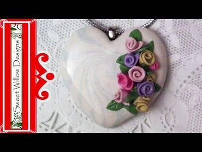 How to Make a Polymer Clay Spring Heart Bouquet Necklace - Get Your Swirl On - #LoveSpringArt