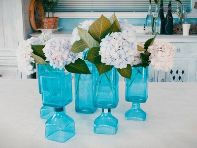 How To make a Recycled Glass Vase & Hydrangea Arrangement