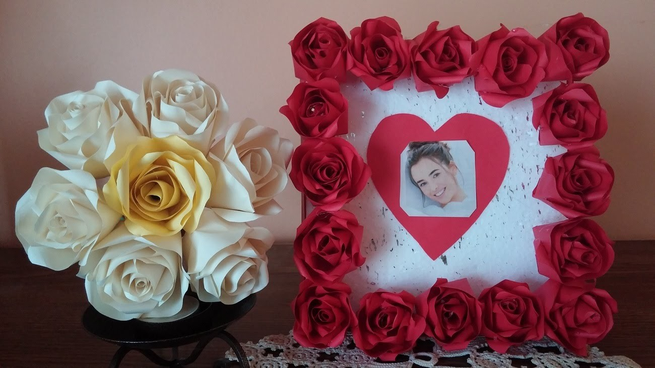 How to make a rose paper frame using polystyrene . Mother's Day gift, Valentine's Day gift