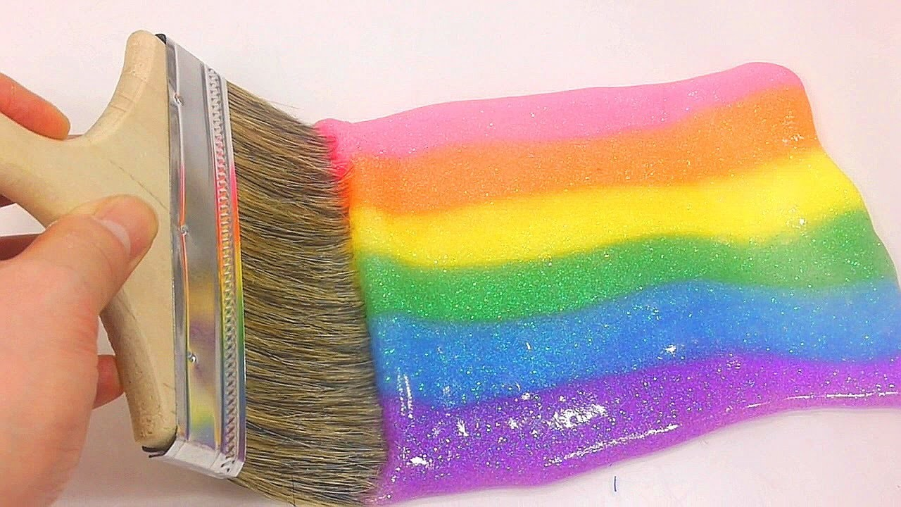How To Make Rainbow Paint Color Glitter Slime Clay Learn the Recipe DIY   Wheels on the bus