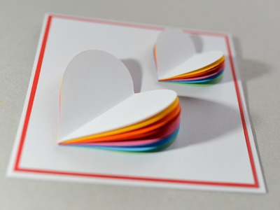 How to Make - Valentine's Day Card Rainbow Heart Greeting Card - Step by Step | Kartka Na Walentynki