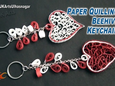 Paper Quilling Heart Beehive Keychain Tutorial | How to make | JK Arts 872