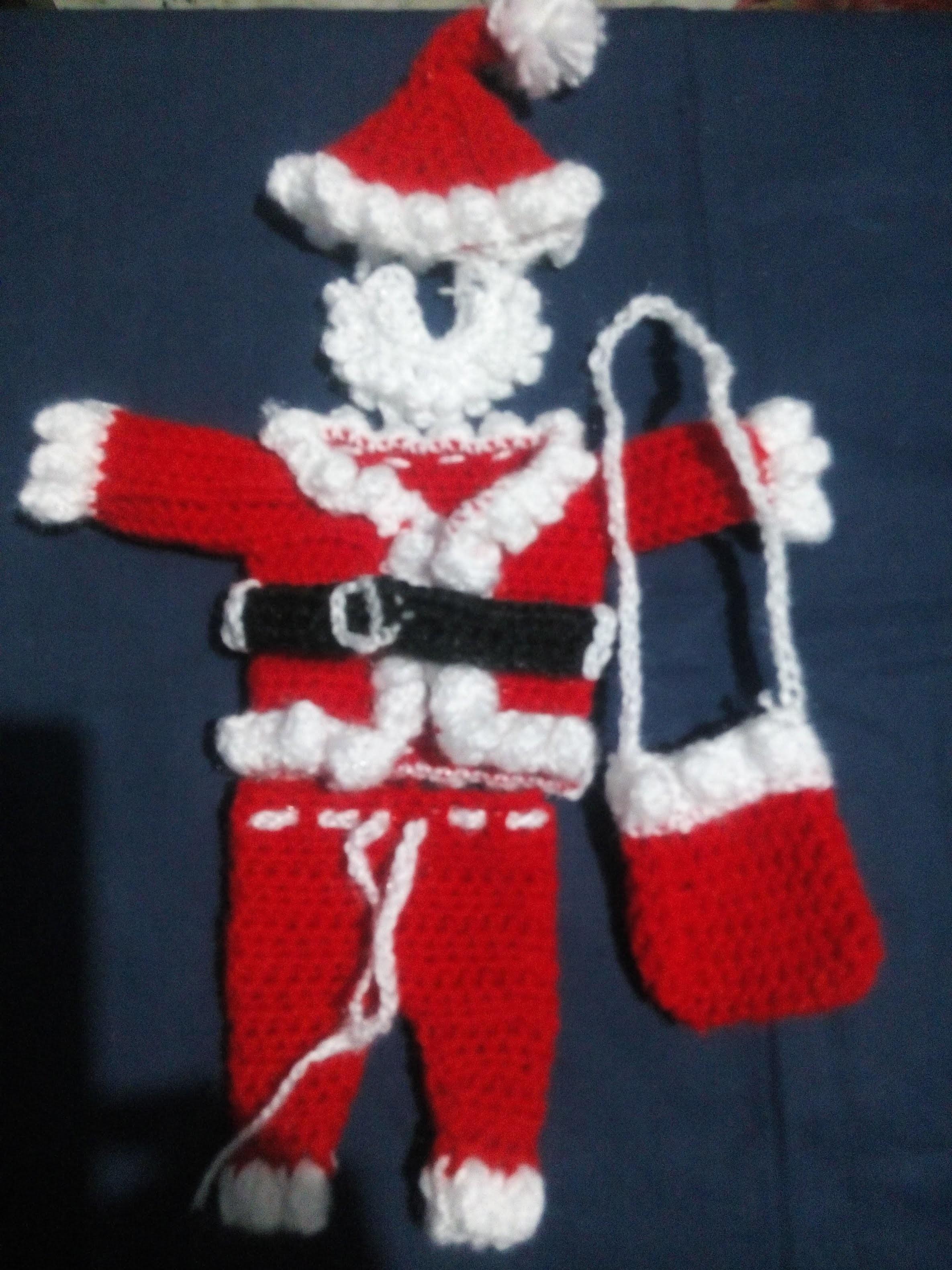 Part 2 -  Santa Gift Bag - How to make Santa dress for bal gopal - crochet winter Christmas dress