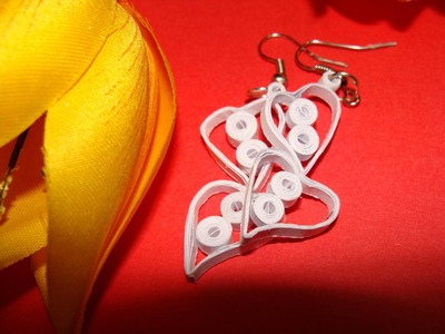 Quilling earrings:How to make white colour love shaped paper earrings