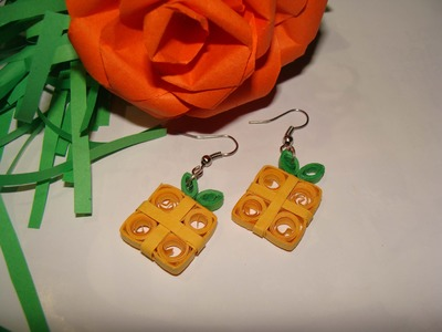Quilling earrrings: How to make Gift shaped Quilling Earrings new design