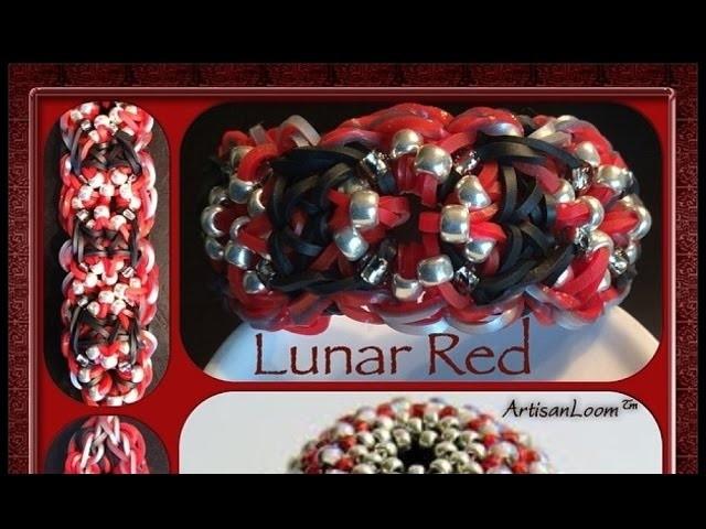Rainbow Loom Band Lunar Red Bracelet Tutorial.How To