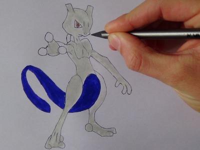 DISEGNARE MEWTWO POKEMON. how to draw mewtwo tutorial