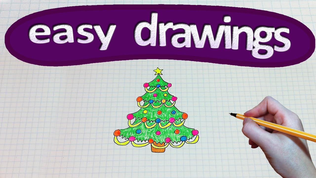 Easy drawings #161  How to draw a Christmas tree ╰☆╮
