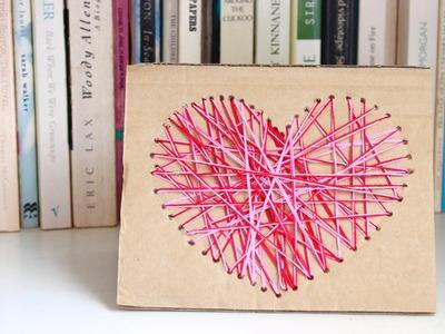 Easy homemade card idea: how to make a yarn heart card