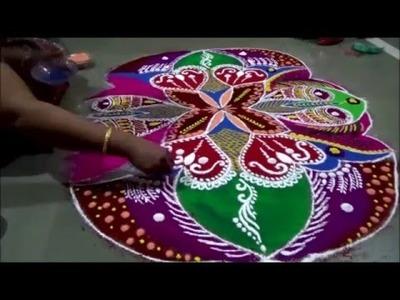 Freehand Rangoli Makar sankrant Rangoli  Morning rangoli How to draw freehand rangoli