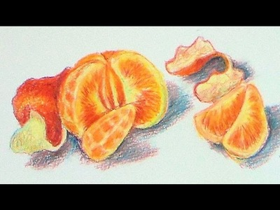 How To Draw A Clementine in Colored Pencils