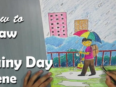 How to Draw a Rainy Day with Oil Pastel for Kids