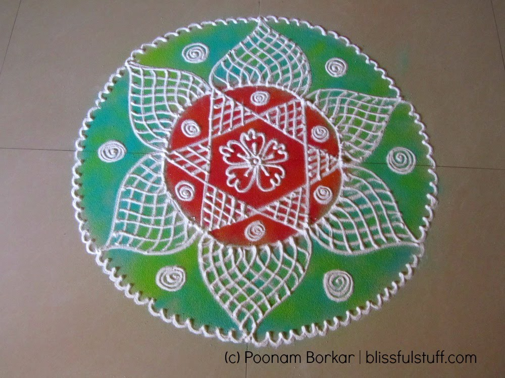 How to draw beautiful flower shaped rangoli design poonam for Home made rangoli designs