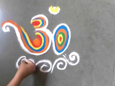 How to draw colourful om rangoli design easily Aum rangoli