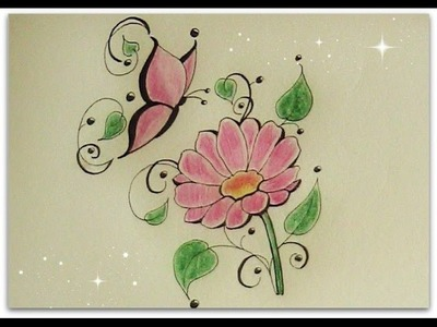 How to draw flower with butterfly - daisy flower for beginners - tattoo flower