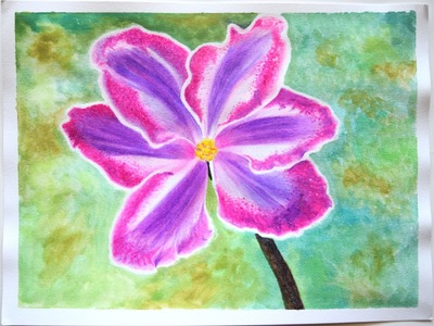 How to Draw Flowers with Oil Pastels  ( Water Soluble )