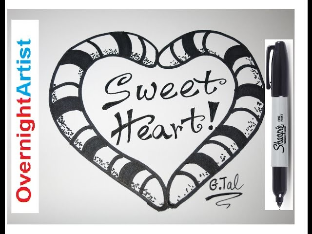 How To Draw Heart EASY!! Sweet Candy Cane Rose Sweet Heart