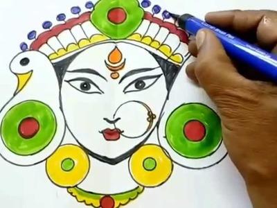 How to draw navratri special devi