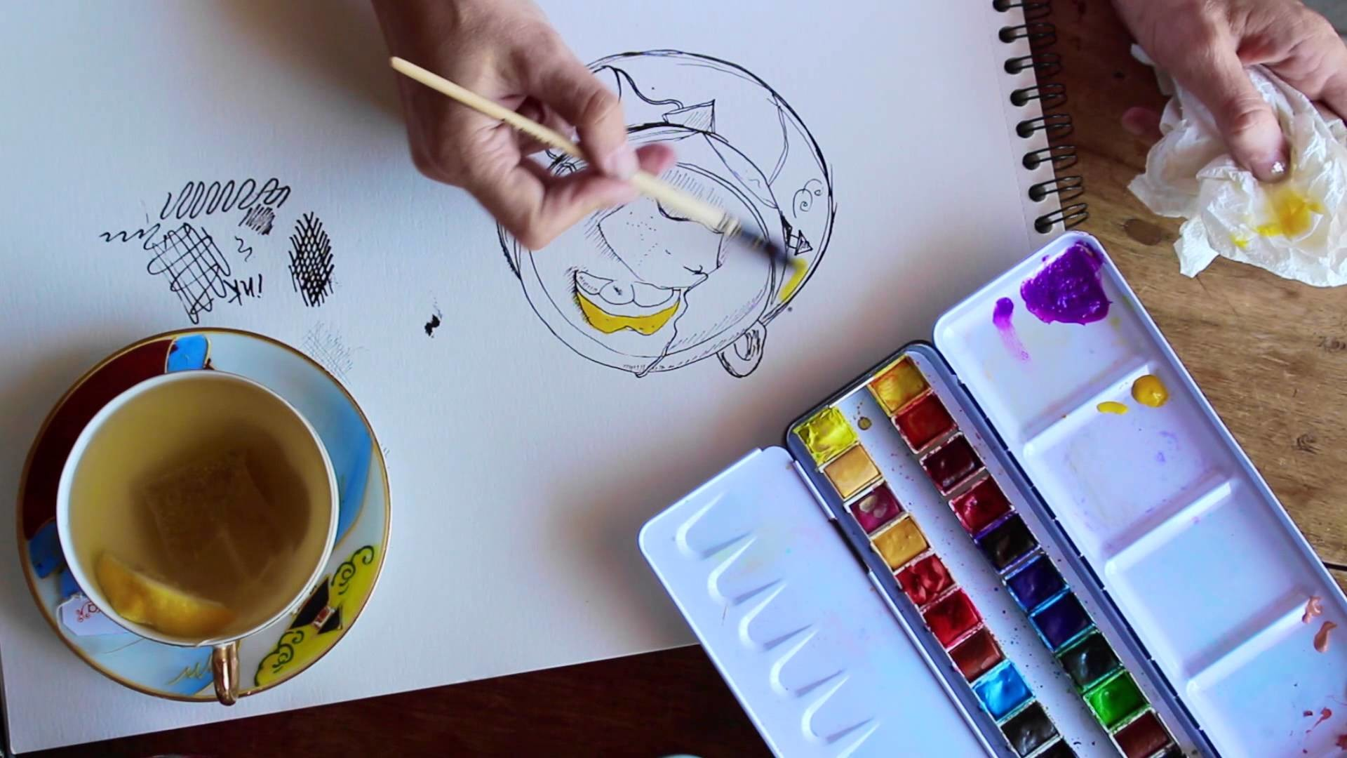 How to Draw & Paint with Ink and Watercolour for beginners _ SKETCHBOOK _Quick tips