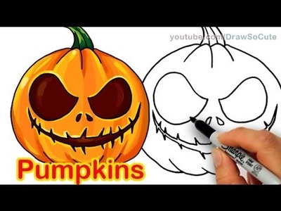 How to Draw Scary Carved Pumpkins Cute and Easy Halloween