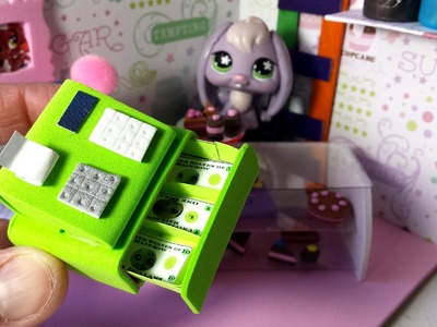 How to Make a Doll Cash Register w. Printable Money : LPS Doll DIY