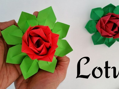 How to make a Modular Paper 'Lotus' (Indian Republic Day special) - Origami Flower tutorial