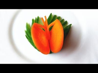 How To Make Carrot Butterfly Garnish - Vegetable Carving Garnish - Sushi Garnish - Food Decoration