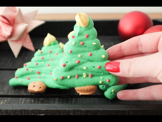 How To Make Christmas Tree Meringue Cookies - By One Kitchen Episode 341