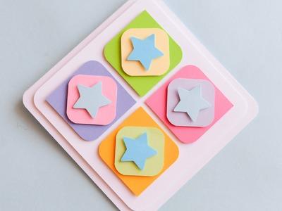 How to Make - Cute Greeting Card With Stars Easy - Step by Step | Kartka Okolicznościowa