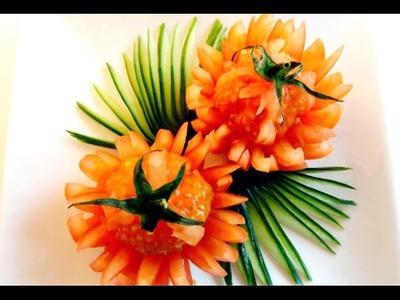 How to Make Tomato Flowers - Vegetable Carving Garnish - Sushi Garnish - Food Decoration