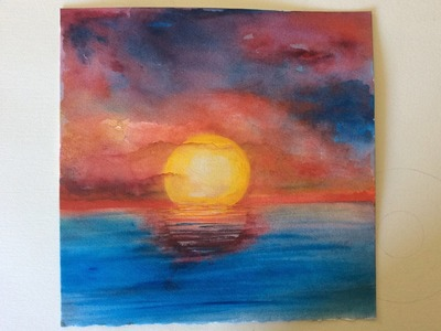 How to paint a Sunset over the ocean with Watercolors, fast and easy.