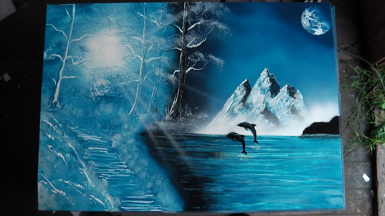 How to Spray Paint Art - Winter Scene & Dolphins