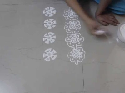 Instant  Rangoli Designs - How to draw borders in Rangoli - Part  3