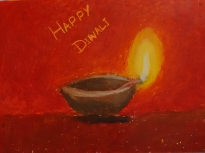 Oil Pastel Tutorial | How to draw an earthen lamp ( diya ) | Diwali 2015 special