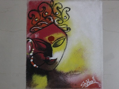 Poster Rangoli Design - How to draw the goddess Durga in Rangoli
