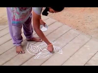 Rangoli.Kolam :- How to draw part 1 end.