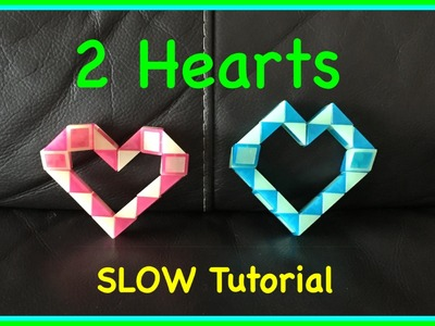 Rubik's Twist or Smiggle Snake Puzzle Tutorial: How to Make 2 Hearts Step by Step SLOW