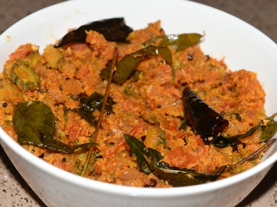 Vegetarian - How to prepare Pavakka Thoran (Bitter gourd Tomato)