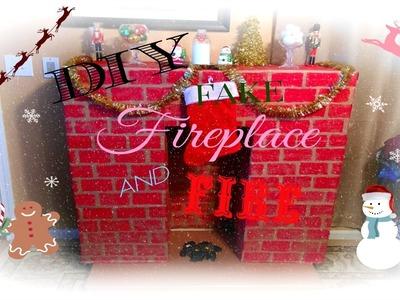 CHRISTMAS DIY ♥ PINTEREST INSPIRED FAKE FIREPLACE & FIRE