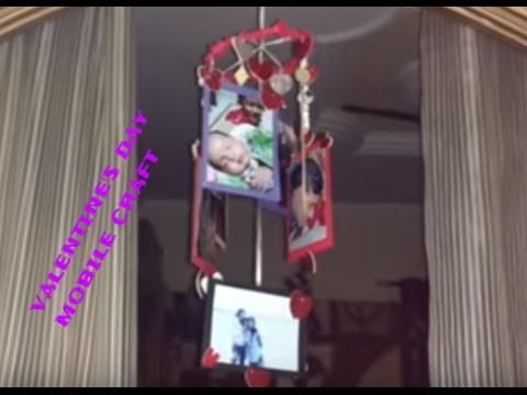 DIY Valentine's Gift Idea For Boys.Girls- Hanging Heart Mobile Craft