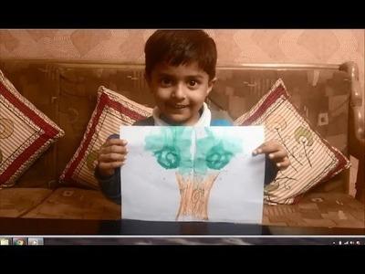 Thread Painting Tutorial by 3 years old kid | DIY painting with thread | Thread tutorial for kids