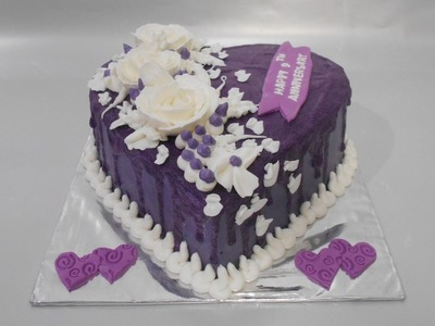 Cake Love Purple Topping Flowers How to Make Easy