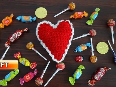Crochet Heart Pin Cushion or Decoration - Left handed Crochet Tutorial