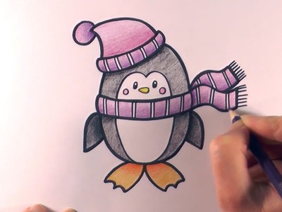How to Colour a Cartoon Penguin With A Hat and Scarf