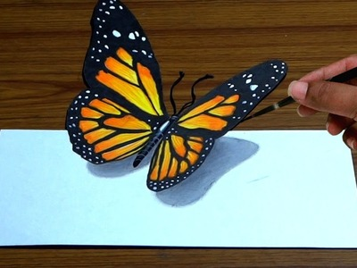 How to Draw 3D Butterfly in Simple Way | Anamorphic illusion | Trick Art